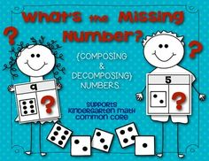 """Kindergarten Common Core Math {Composing and Decomposing Numbers} """"What's the Missing Number?"""""""