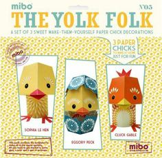 craft, yolk folk, easter yolk, paper anim, gifts, folk paper, papers, easter gift, paper toy