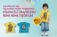 Çocuklar için rengarenk, grafik desenli, en güzel tişörtler LC Waikiki'de! Üstelik 5.90 TL'den başlayan fiyatlarla!