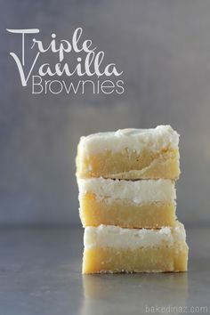 Triple Vanilla Brownies recipe. Delicious food dessert idea that would also be a good gifts from the kitchen idea for family and friends and bake sale idea (also potluck and entertaining.)