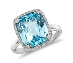 Sky Blue Topaz and Diamond Halo Cushion-Cut Ring in 14k White Gold  | Click for your chance to win a $1000 gift card from #BlueNile!