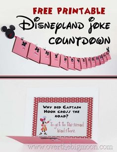 Disneyland Joke Countdown - Create this adorable Countdown to help make your little ones excited for their trip to Disneyland!  #disney #disneyland