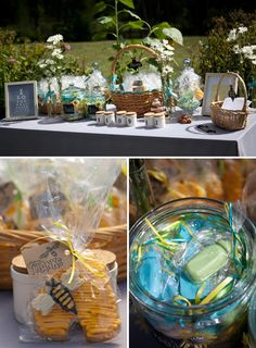 Edible favors at a bee themed baby shower