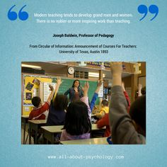 Great quote from Joseph Baldwin in 1893, Professor of Pedagogy. University of Texas, Austin. Click on image or GO HERE --> www.all-about-psychology.com for free psychology information & resources. #psychology (Photo Credit audiolucistore via flickr creative commons)