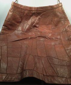 Patchwork LEATHER Skirt by Bernard AZARI by rememberwhenemporium, $39.95