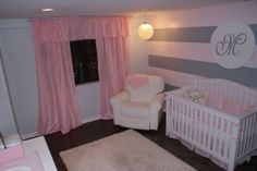 baby girl bedding pink and gray | Pink, Grey and Bling!, A pink and grey baby nursery with crystal ...