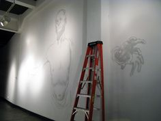 Sketching the mural of David at the www.vermillionseattle.com gallery Day #1.  #graffiti #weirdo #spraypaint