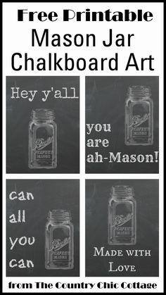 Free Printable Mason Jar Chalkboard Art -- fun art to print for your farmhouse.