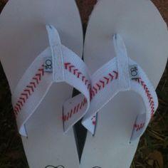DIY baseball flip flops - buy white thick banded (cotton) flip flops.