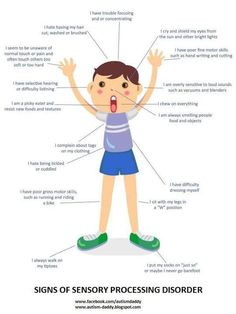 Signs of Sensory Processing Disorder. Repinned by SOS Inc. Resources.  Follow all our boards at http://pinterest.com/sostherapy  for therapy resources.