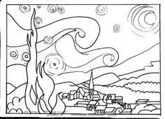 Outlines of famous works of art for kids to color. blog with more art and homeschool info and tips.