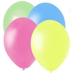 Globos de látex perlado en colores neón, de www.fiestafacil.com - $3.90 para 20 / Neon-coloured latex balloons, from www.fiestafacil.com