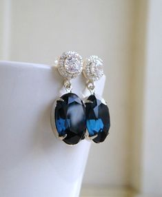 Sapphire Jewelry Wedding Jewelry Bridal Earrings by SomsStudio, $27.00