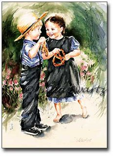Watercolor Painting of Amish Children