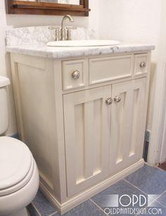 half baths, downstairs bathroom, diy furniture, bathroom vanities, small bathrooms, downstair bathroom, bathroom sinks, pottery barn, diy projects