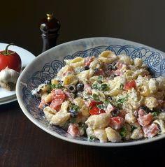 roasted garlic, olive, and tomato pasta salad