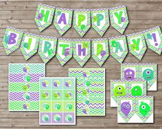 Adorable MONSTER BABY Party Kit for Girl or Boy (Great for 1st Birthday)