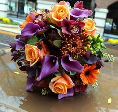 perhaps a soft darker yellow with purple as main colors and get married during the fall, September/ October