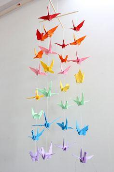 Rainbow paper crane baby mobile on Etsy