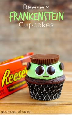 Reese's Frankenstein Cupcakes. I know Frankenstein is scary, but these are so darn cute!