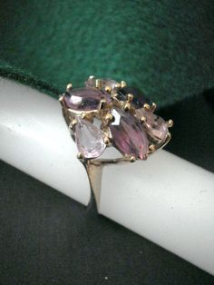 14K Gold Filled Amethyst Cocktail Ring from Hungary by Zoesgems