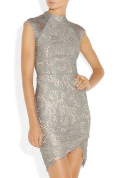 elegant gray lace dress from LOVER. Such a cute rehersal wedding dress.