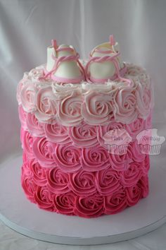 Pink Ombre Rosettes with Baby Bootees - 7 inch double barrel cake with buttercream rosettes