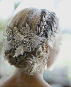 Winter wedding hair up-do. Plaits and beautiful hair piece.
