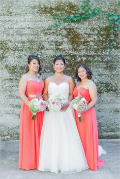 love the gold belt :)) --Coral bridesmaids look with gold belts. Bridesmaids Dresses: WTOO Watters ---> http://www.weddingchicks.com/2014/05/15/romantic-wedding-under-the-trees/