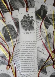 DIY bookmarks made from old book pages .