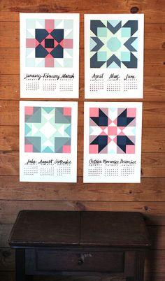 2014 Screen print Quilt Quarterly Wall Calendar