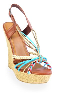 Deb Shops open toe braided jute #wedge with multi straps
