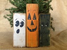 Primitive Country Pumpkin Ghost Monster Halloween Wood Shelf Sitter Block Set #HalloweenShelfSitters
