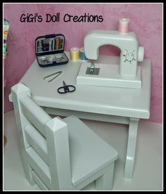 Handmade 18 inch doll sewing machine, table and chair.