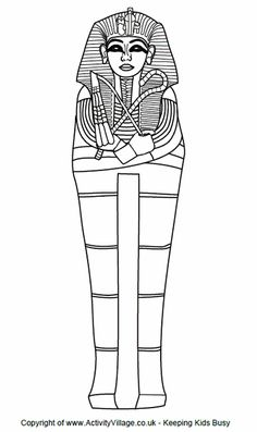 Sarcophagus colouring page. Mystery of History Volume 1, Lessons 11, 22, 23, 24 #MOHI11 #MOHI22 #MOHI23 #MOHI24