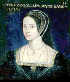 French portrait of Queen Anne Boleyn.   A version of Anne's official portrait, which has been lost/destroyed. It might even have been painted by Holbein. The best known variation is the Elizabethan portrait in London's National Portrait Gallery.