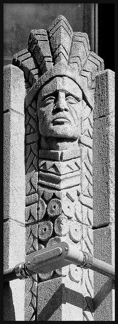 Architectural Detail: Native American Figure, Christopher Columbus School (Now Beulah Brewer Academy)--Detroit MI by pinehurst19475, via Flickr