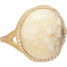 Monique Pean Fossilized Walrus Ivory & Diamond Ring