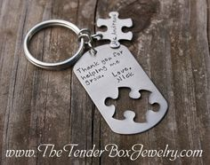 Personalized teacher gift. Would be especially great for a special education teacher! A keychain with a handstamped note from a student. Simple, yet effective thank you! We could keep our classroom keys on the keychain.