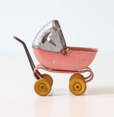 Vintage Doll Carriage - Miniature Pink Toy Baby Pram