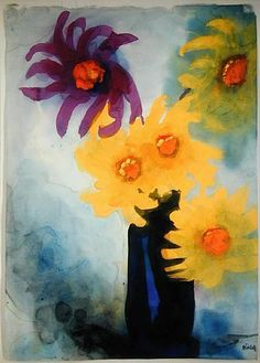 Violet and Yellow Dahlias in a blue Vase - Emil Nolde