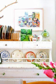 open cabinet, floralpattern plate