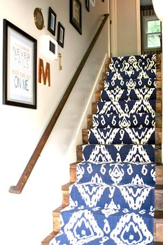 DIY Stair Runner with 30$ rugs. What an amazing idea. I'm in love!