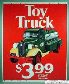 1985 Hess Trucks promotional signage.