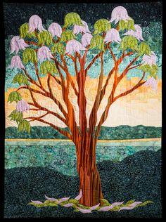 Jacaranda Tree Bargello Landscape Art Quilt