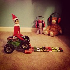 Elf on the Shelf Idea: Monster Truck Jam