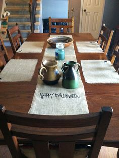 Halloween Burlap Table Runner and Placemats yourrusticaffair.etsy.com