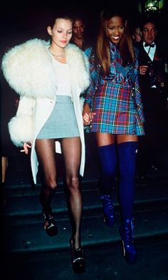 fur and miniskirt, winter, plaid, red and blue, thigh high cobalt boots, black pantyhose, sheer stockings, baby blue, white, white fur, sleek ponytail, model style, 90s, double breasted jacket, coat, sweater, layered, tee, heels repin