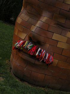 mustache #yarn bomb #knit #crochet