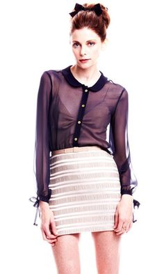 Outfit Inspiration - Paper Crown Celsia Blouse in Navy / Tulip Skirt in Antique